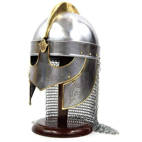 Medieval Viking Helmet with Chainmail - Crusader Helmet Warrior Armor Knight 18g