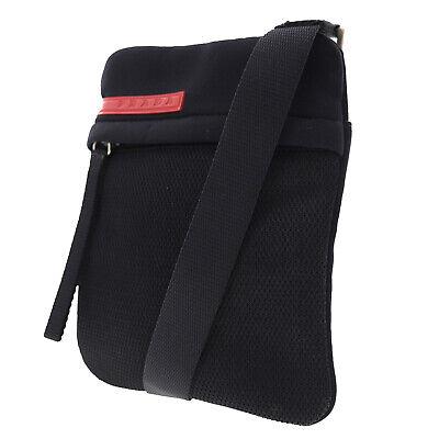 PRADA Sports Shoulder Bag Black Mesh Jersey Italy Vintage Italy Auth #AC15 O