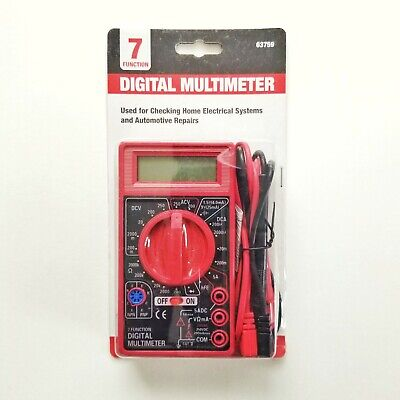 Digital Multimeter - 7 Function - Ac Dc Voltage Current Resistance Tester Meter