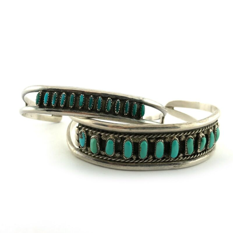 Zuni Sterling Silver & Turquoise Needlepoint Stacking Bracelets Cuffs TWO