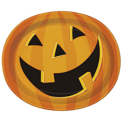 8 Haunted Halloween Party Spooky Smiling Pumpkin Large 12in Paper Dinner Plates ()