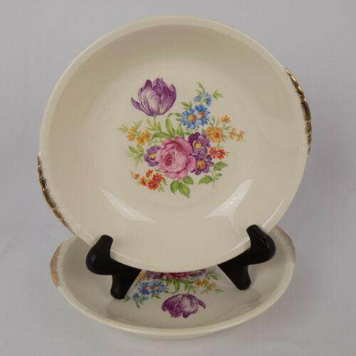 Paden City Pottery Rose Floral Center Soup Bowl Shell Crest 2 Gold Lines PCP132