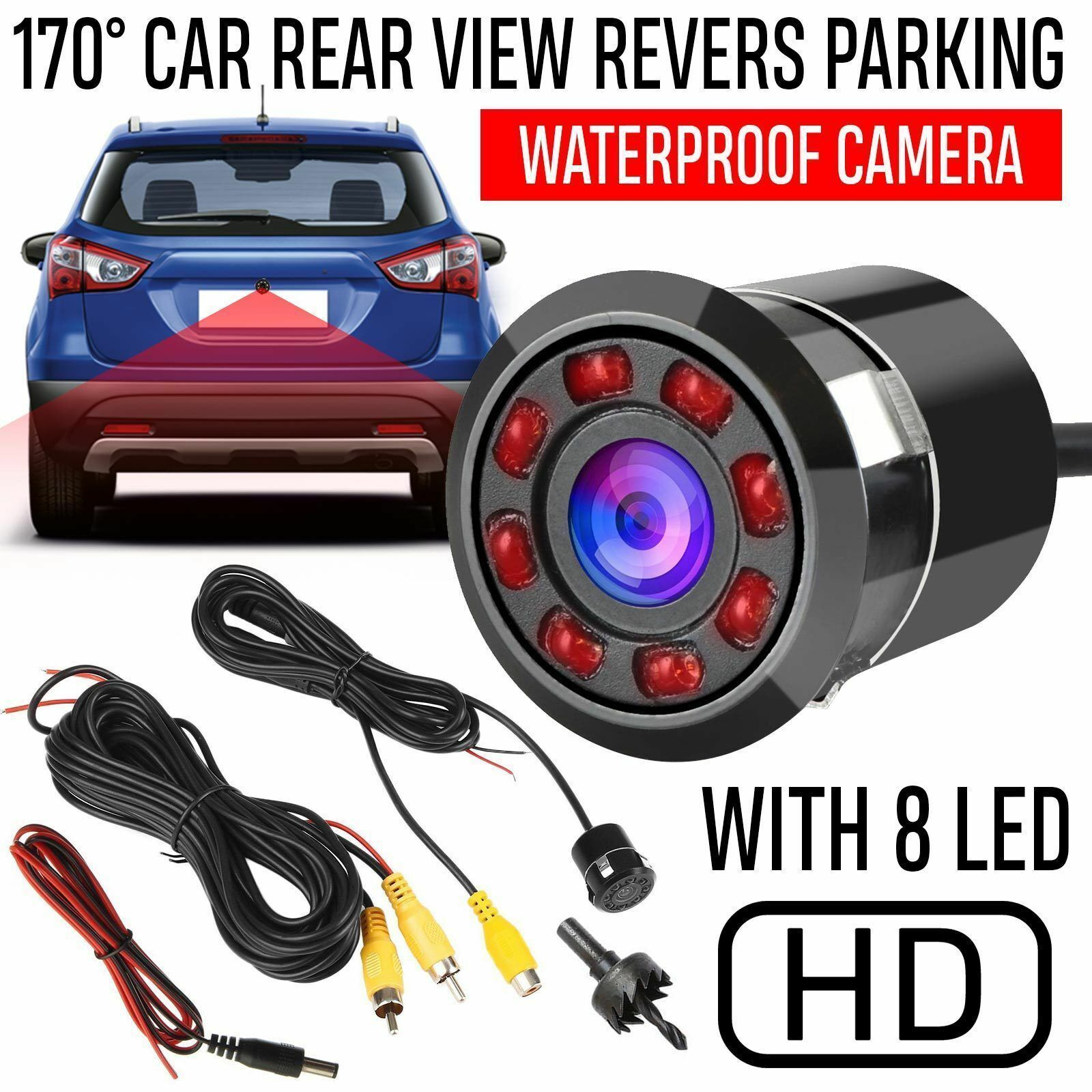 170 Degree 8 LED Lights Night Vision Rear View Camera Parking Backup Assistant