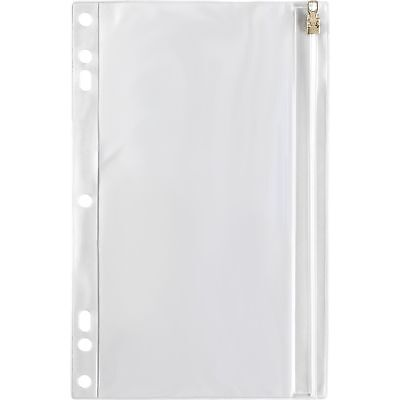 Business Source Ring Binder Pocket Wzipper Plastic 7hp 9-12x6 Clear 01606