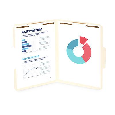 50 Manila Fastener File Folders, 1/3 Cut Reinforced tab, 2 Prong, Letter Size (Fasteners 1/3 Tab Cut Letter)