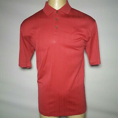 NIKE GOLF TIGER WOODS Fit Dry Drop Needle Mens Large Hot Pink Melon Red Shirt