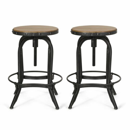 Cedarville Industrial Firwood Adjustable Height Swivel Barstools, Set of 2, Anti Benches, Stools & Bar Stools