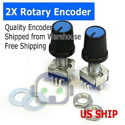 2pcs Ec-11 Rotary Encoder Digital Potentiometer 20mm Knurled Shaft With Switch
