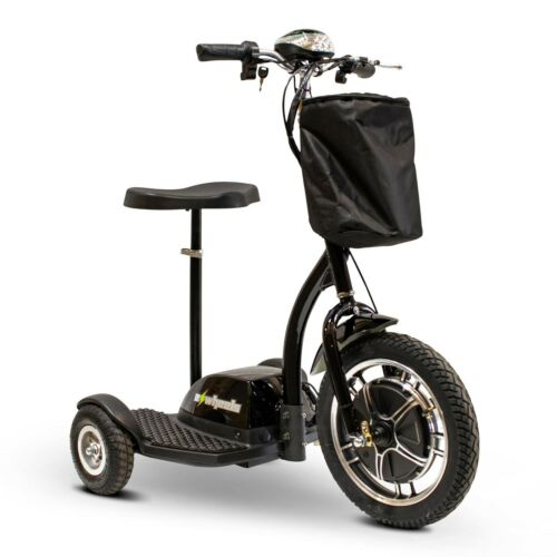 Black Ew-18 3 Wheel Scooter, Sit Or Stand To Ride, 300 Lb Cap, 15 Mph, 20 Miles