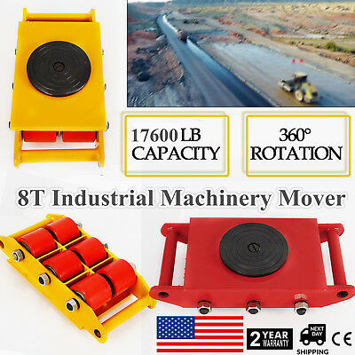 8t 17600lb Heavyduty Machine Dolly Skate Roller Machinery Mover 360rotation Cap