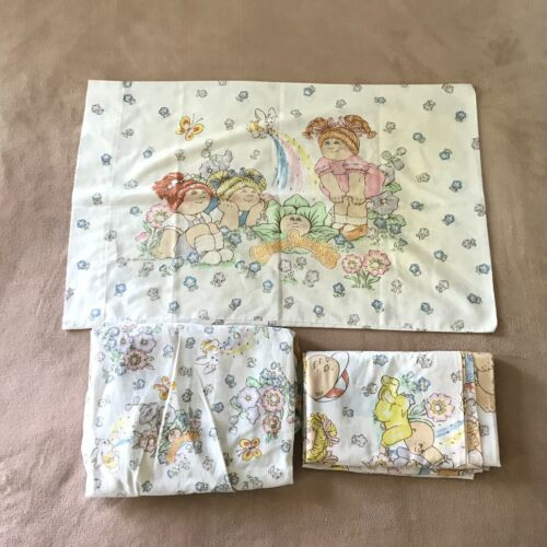 Vintage Cabbage Patch Kids Sheet Set Flat Fitted 1 Pillowcase Upcycle 1983