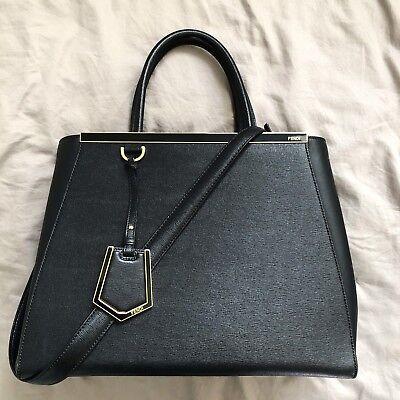 $2250 FENDI 2Jours Black Medium Saffiano Leather Handbag Bag Tote Shoulder Strap