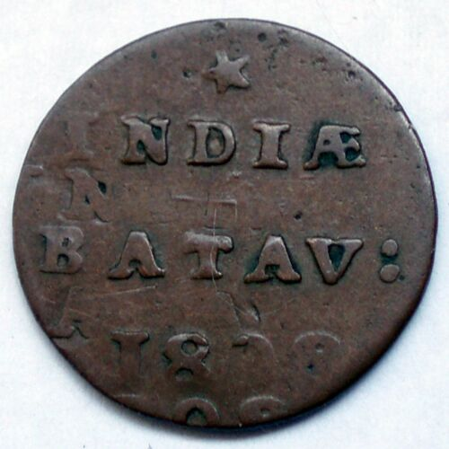 NETHERLANDS EAST INDIES, BATAVIAN REPUBLIC 1/2 DUIT 1808 Doubled Die Error O5.1