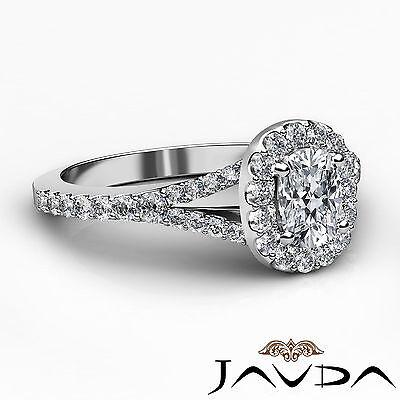 Halo Split Shank French U Pave Cushion Diamond Engagement Ring GIA F VS2 1.21 Ct 2