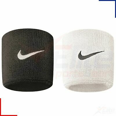 Nike Swoosh Sports Stretch Sweat Wristbands 1 Pair Tennis Fitness Black or White