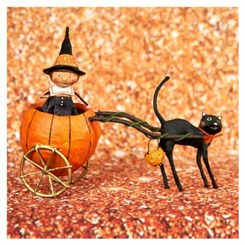 "6.5"" Lori Mitchell Pipers Pumpkin Ride Witch Black Cat Halloween Figurine Decor"