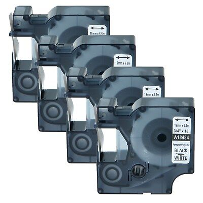 4x 18484 Black On White Ind Permanent Poly Industrial Labels For Dymo Rhino 5200