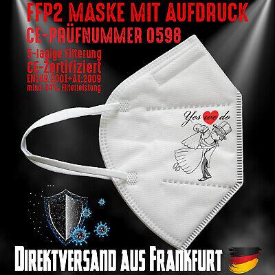 FFP2 Maske Mundschutz Mundmaske weiß CE 0598 Hochzeit Wedding Heiraten Braut