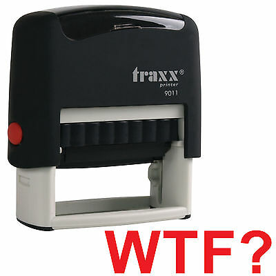 Wtf Red Stock Self-inking Rubber Stamp - Secret Santa Office Present Gift