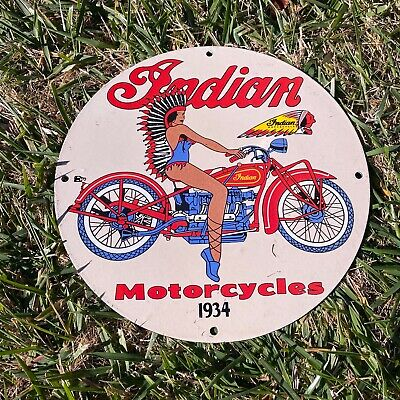 "VINTAGE INDIAN MOTORCYCLES 1934 PIN UP GIRL PORCELAIN METAL GAS & OIL 12"" SIGN!!"
