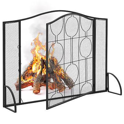 Steel Screen Doors - BCP Single-Panel Steel Mesh Fireplace Screen w/ Locking Door - Black
