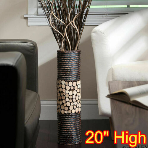 CYLINDER VASE FAKE FLOWER PLANT NATURAL WOOD FLOOR DECORATIVE TALL 20 INCH BROWN