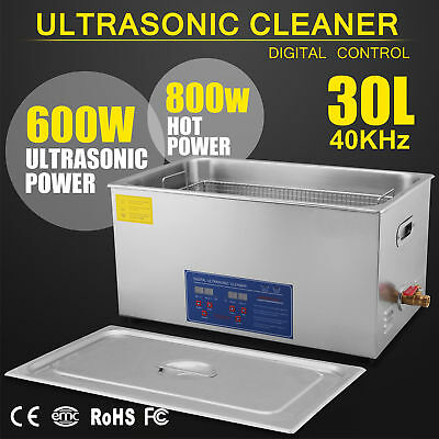 New 30l Ultrasonic Cleaner Stainless Steel Industry Heated Heater Wtimer Usa Jj