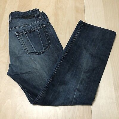 DIESEL INDUSTRY Mens Revick Dark Blue Jeans 31x34 Cow Leather Button Straight ()