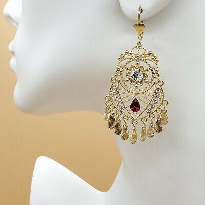 14K Gold Plated Chandelier Earrings.Clear Red. Aretes Folklorico Oro laminado 14k Gold Chandeliers Earring