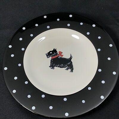 1 Mesa Scottie Dog Salad Plate Black White Polka Dot Rim 8 1/8