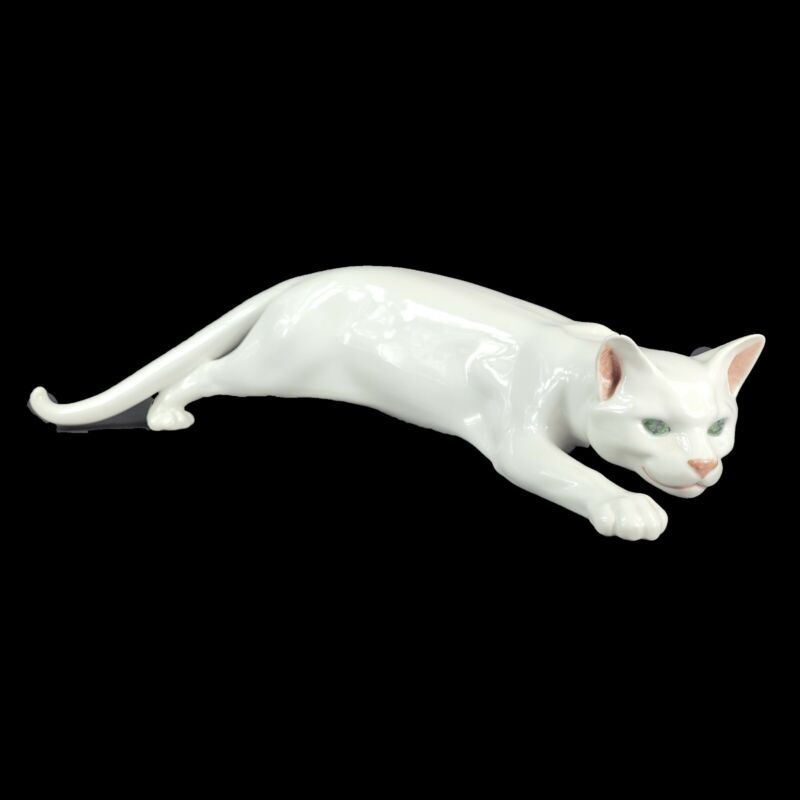 "Royal Copenhagen Creeping Cat Figurine White Porcelain - RARE  - Large - 17"""