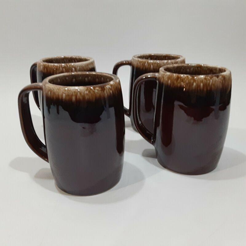 "Lot of 4 Vintage HULL USA Brown Drip Oven Proof 16oz. Beer Stein 5"" Large Mug"