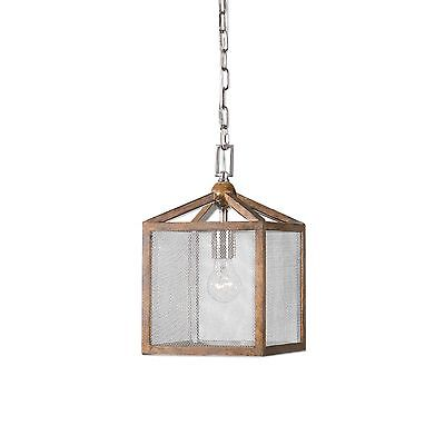 Boxed Lantern Pendant Taupe 19H Wood Screen Farmhouse Light Chandelier Cage NIB