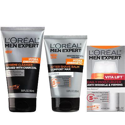 LOreal Paris Men's Expert Skin Regimen Cleanser Shave Balm and Moisturizer Set