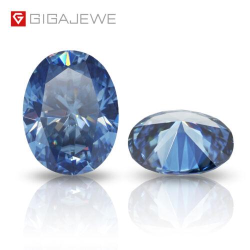 Vivid Blue Color Moissanite Stone Loose Gemstone Excelent Oval Cut