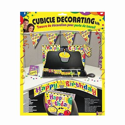 Happy Birthday Cubicle Desk Set Fancy Dress Yellow Decoration