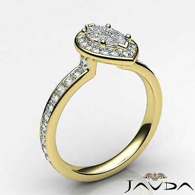 Halo Micro Pave Marquise Cut Diamond Engagement Cathedral Ring GIA F VS1 1.17Ct 7