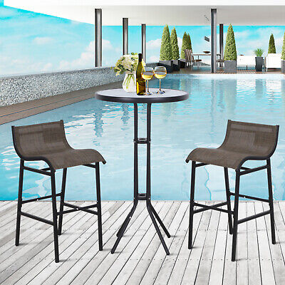 Garden Furniture - 3pc Outdoor Patio Bar Table Chairs Bistro Set Garden Pool Backyard Furniture