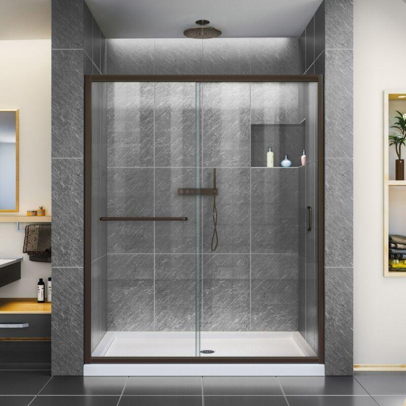 """DreamLine SHDR-0960720-06 Infinity-Z 56-60x72"""" Sliding Shower Door, Oil Bronze"""