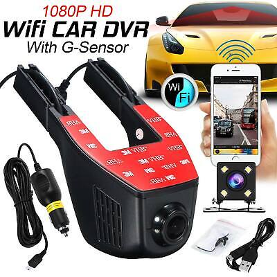WIFI Car DVR Camera Dual Lens Full HD Dash Cam 1080p Night Vision G-sensor Black