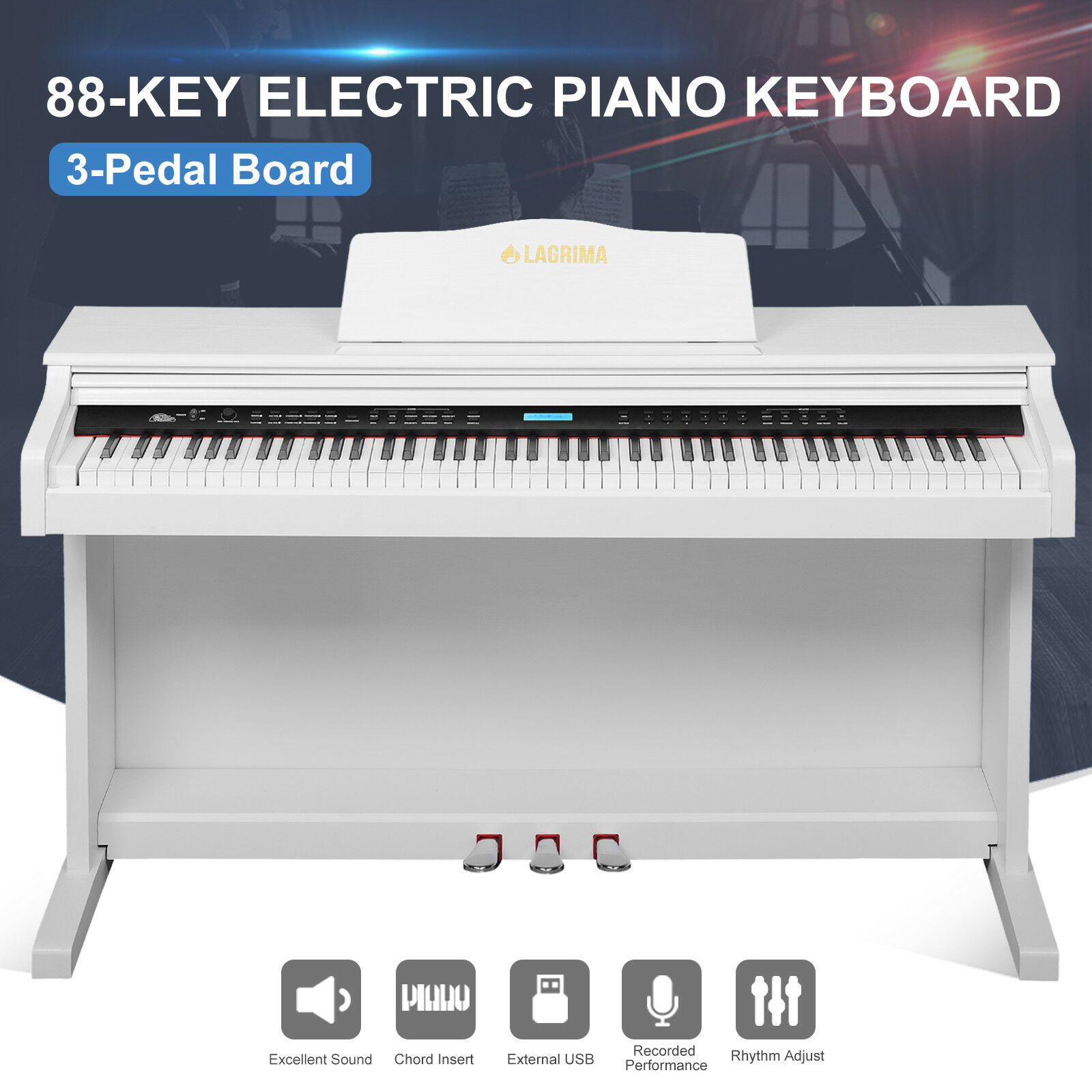88 Key White Electric Music Digital LCD Piano Keyboard with