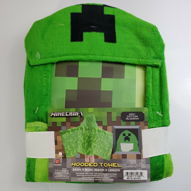 Minecraft Hooded Towel, Creeper - 22 in x 51 in (55 cm x 130 cm) NEW