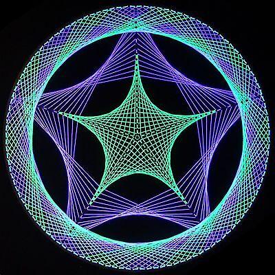 Stringart UV Deko - Goa Psy Trance Party Schwarzlicht Fadenkunst - Kreis Stern 1