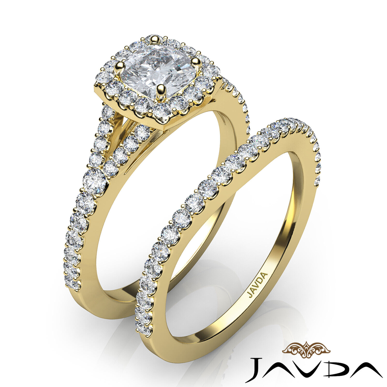 1.5ctw U Cut Pave Halo Bridal Cushion Diamond Engagement Ring GIA F-VS2 W Gold 11