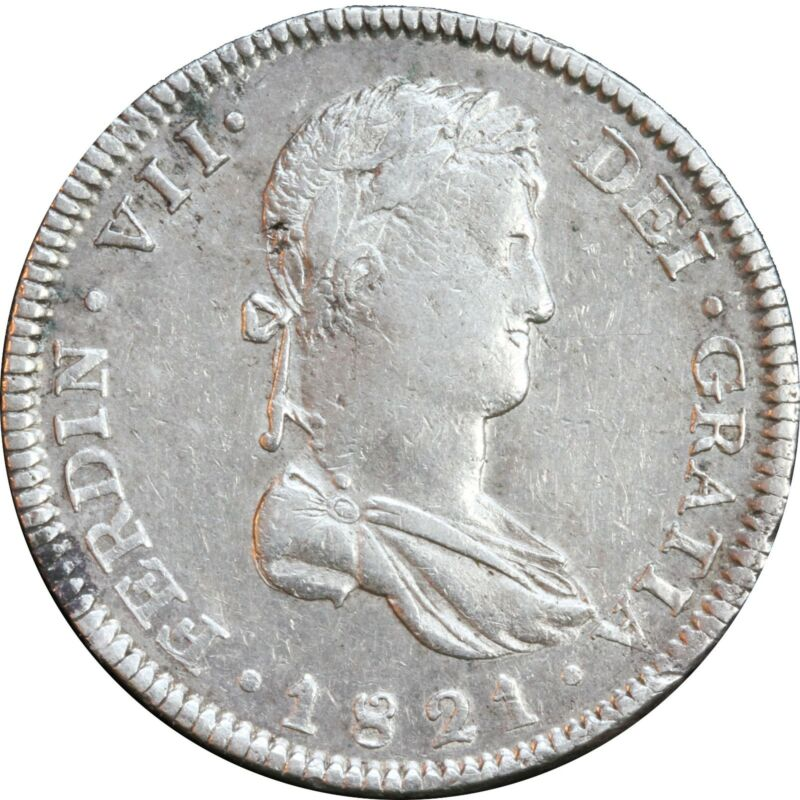 Mexico 8 Reales Ga 1821 F.S. Guadalajara, War of Independence. Luster.