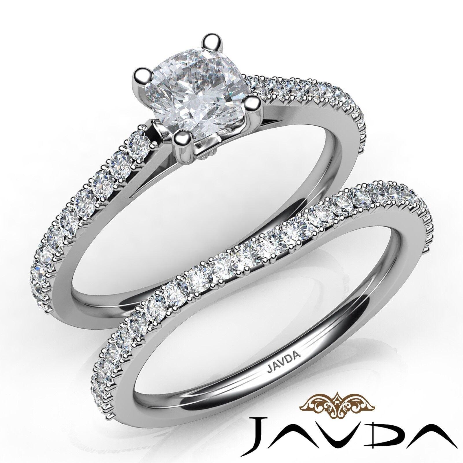 1.51ctw Double Prong Bridal Set Cushion Diamond Engagement Ring GIA F-VS1 W Gold