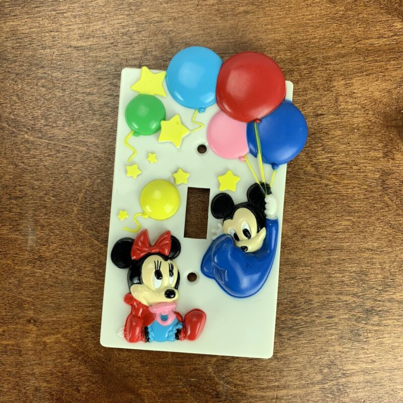 Vintage 1984 Disney BABY MICKEY and MINNIE MOUSE LIGHT SWITCH COVER
