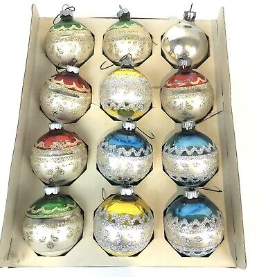 Vintage Shiny Brite glass Christmas Ornament bulbs Glitter 11 in box 1 Silver ()