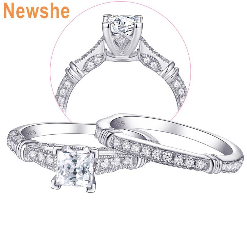Newshe Engagement Wedding Ring Set For Women Princess Cz Sterling Silver Sz 5-12