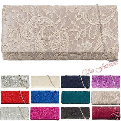 Floral Purse Bag (LACE FLORAL LADES PARTY PROM BRIDAL EVENING CLUTCH HAND BAG PURSE HANDBAG)